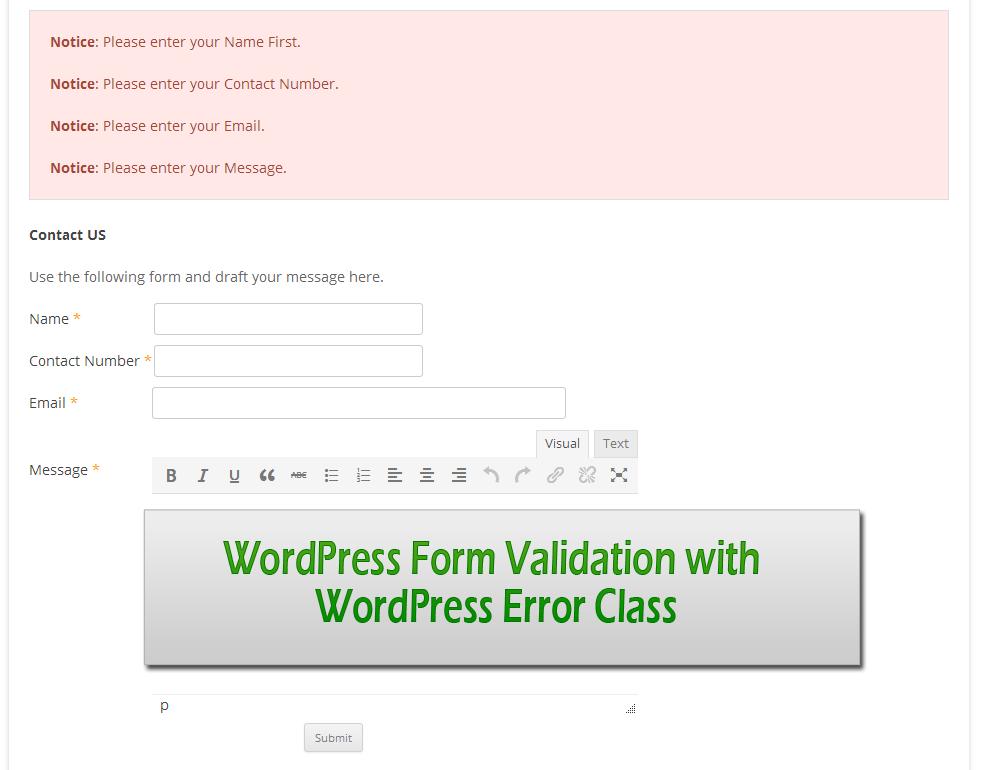 WordPress-Form-Validation-with-WordPress-Error-Class